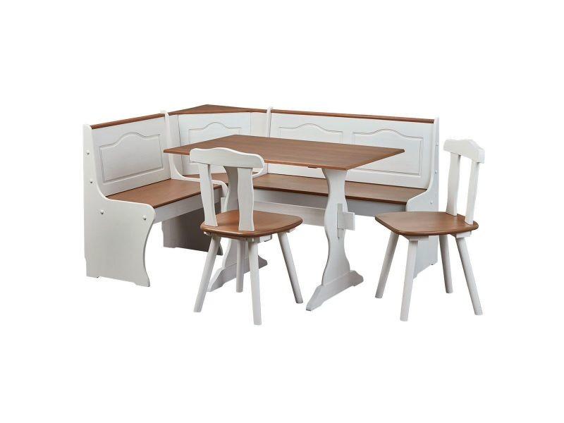 Bidart - angle repas complet bois massif et blanc