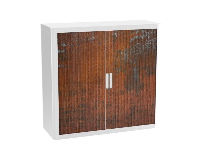 Armoire de bureau métalique porte coulissante h 1m - rouille