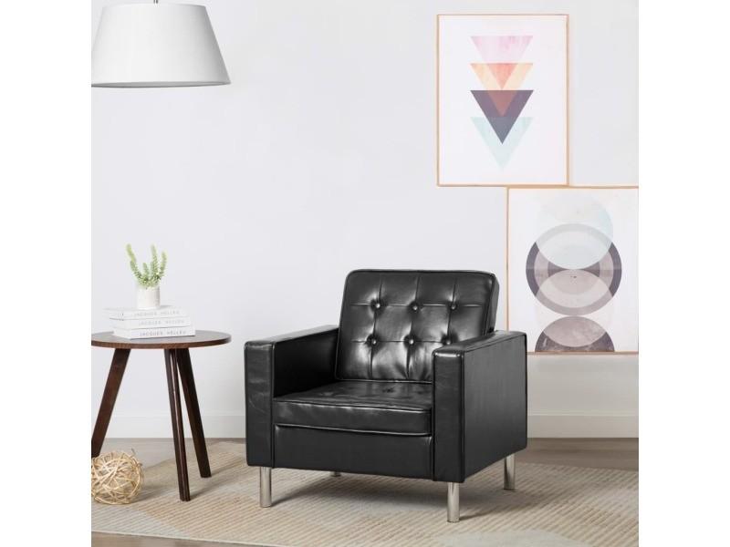 Distingué fauteuils serie niamey fauteuil revêtement simili-cuir noir 75 x 70 x 75 cm