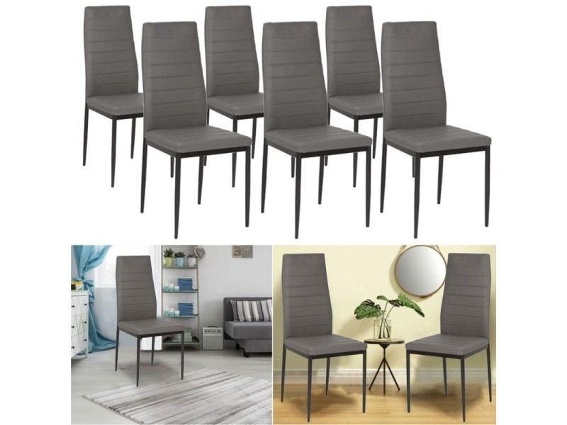lot de 6 chaises romane grises pour salle manger vente de chaise conforama. Black Bedroom Furniture Sets. Home Design Ideas