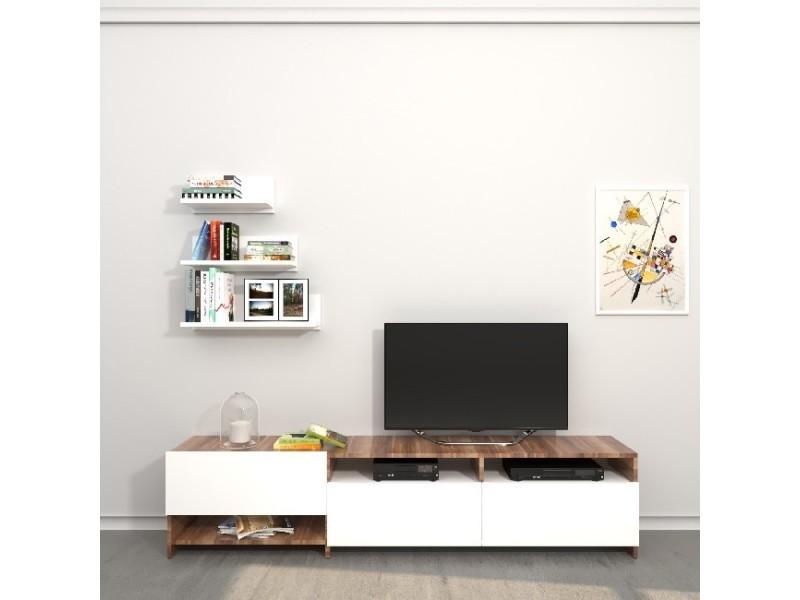Homemania meuble tv campbell - avec des étagères, des tablettes, des portes - du salon - blanc, bois en bois, 180 x 28,4 x 40 cm