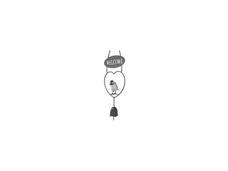 Suspension clochette welcome cloche motif oiseau à accrocher en métal 11,5x17x65cm