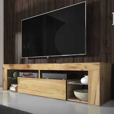 Meuble Tv Banc Tv Bianko 140 Cm Chene Lancaster Vente De Meuble Tv Conforama
