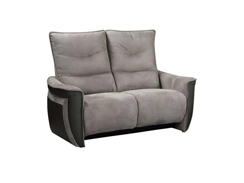 Canapé 2 places relax electrique cuir/tissu gris - zealand - l 151 x l 90 x h 109 - neuf