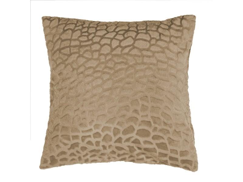 Housse de coussin 40 x 40 cm imitation poil tanzania sable