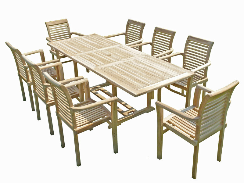 Ensemble salon de jardin en teck amara 8 fauteuils ...