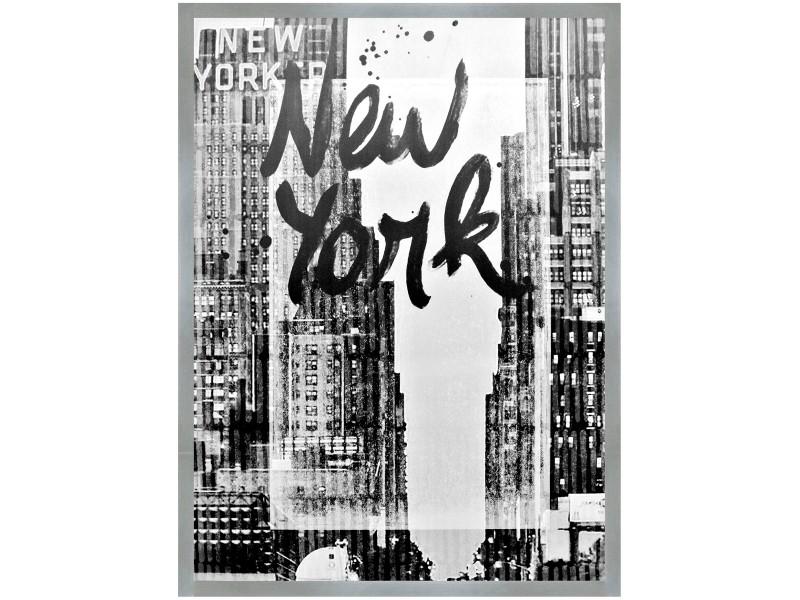 Tableau Toile Cadre Imprime Retro New York Encadrement Argente 60 X 80cm Vente De Promobo Conforama