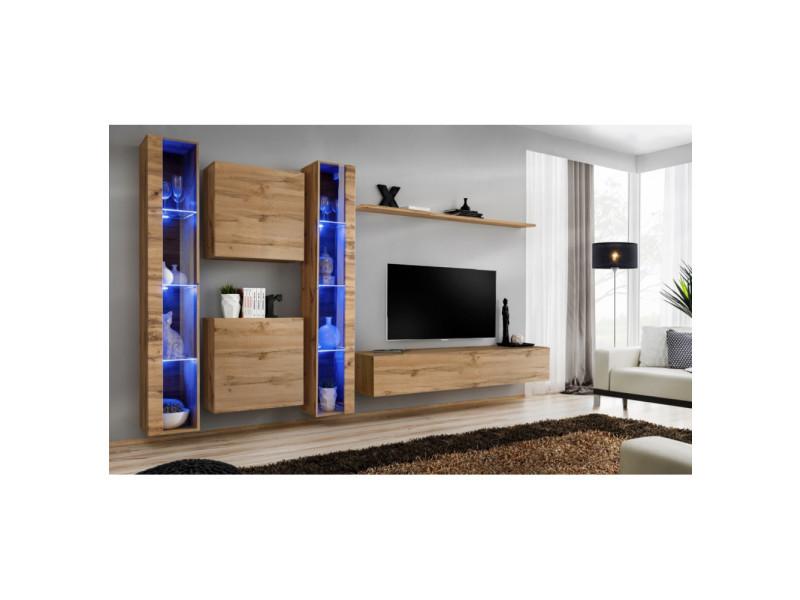 Ensemble mural - switch xvi - 2 vitrines led - 2 vitrines carrées - 1 banc tv - 1 étagère - bois