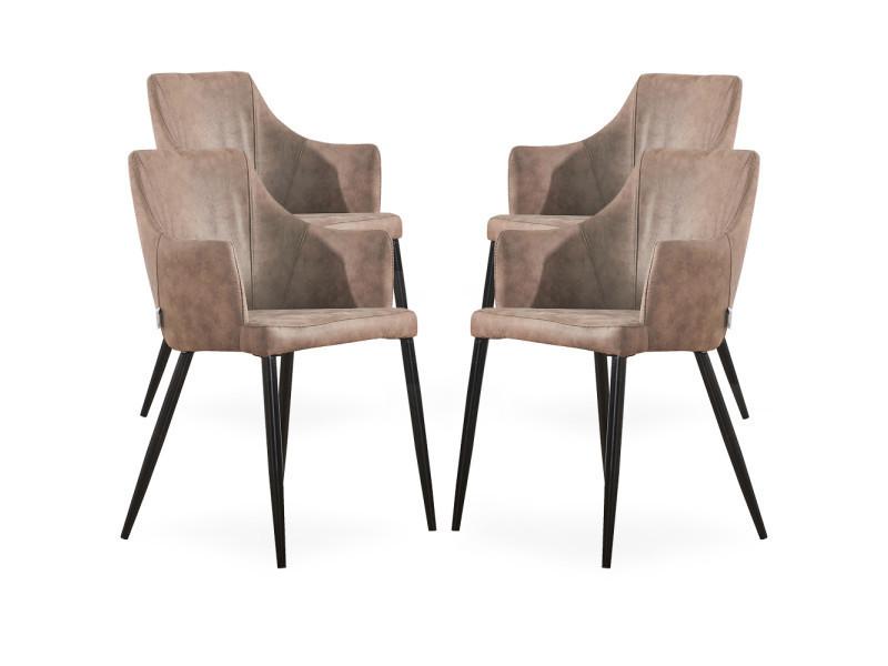 Lot de 4 chaises zarah en simili cuir marron clair - rembourrée