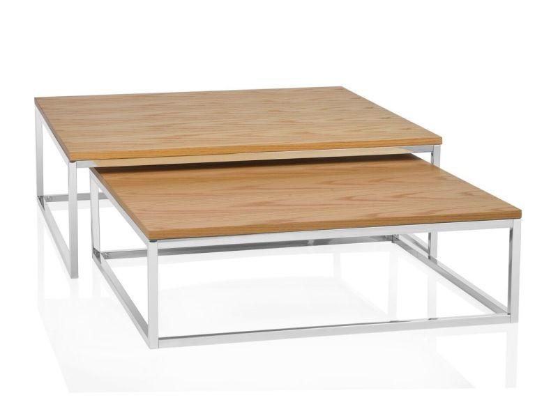 Tables basses gigognes design carrées - marron/marron - marron/marron AH-MU15217
