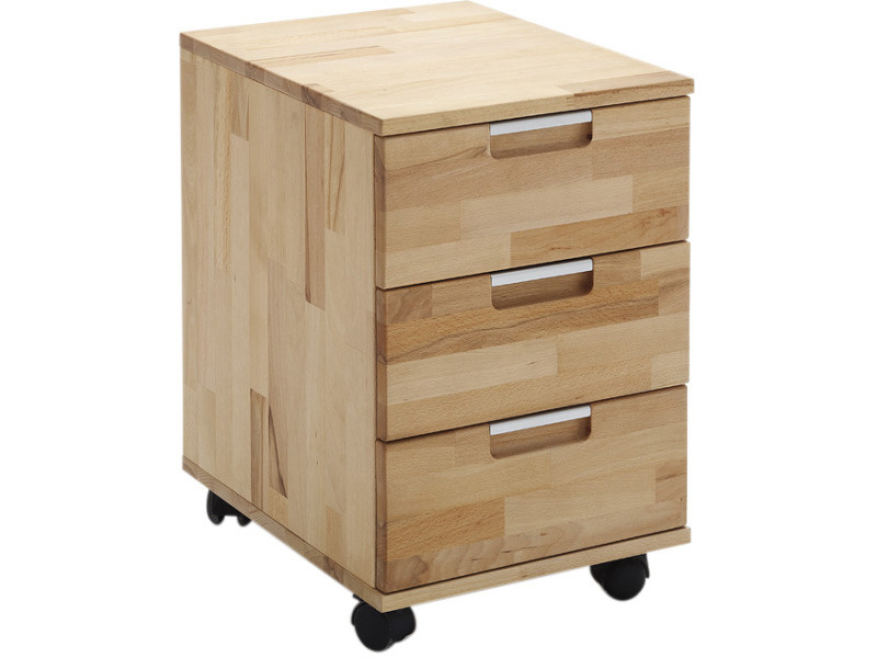 Caisson bureau tiroirs contemporain en bois hêtre massif cm p