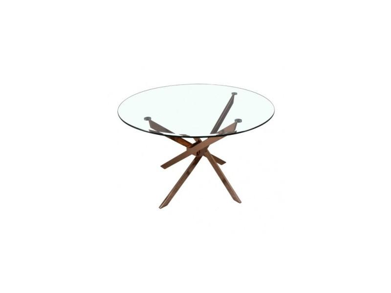 Table ronde pieds cuivrés dinamik 120 cm