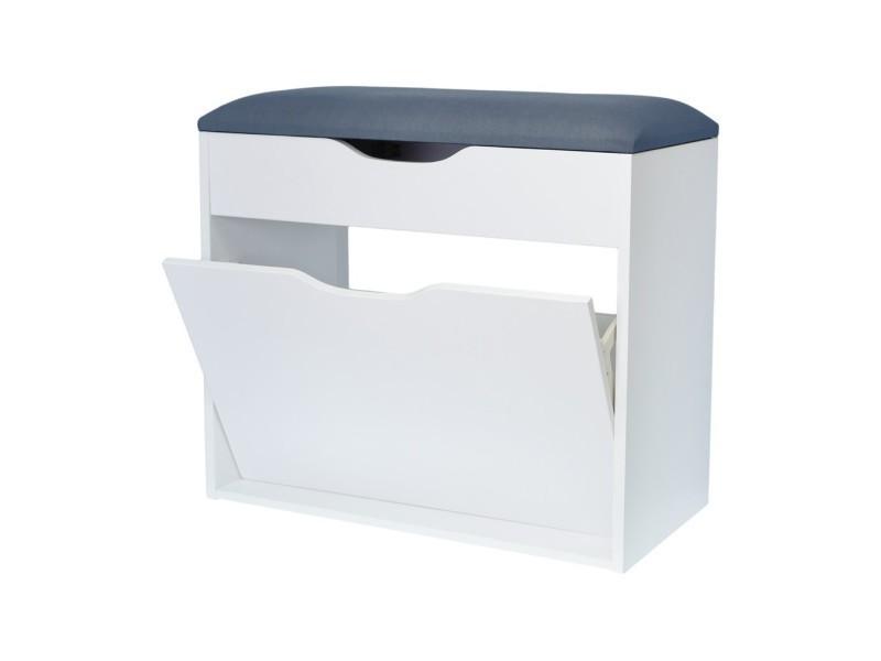 meuble chaussures avec assise en tissu gris 60x29x51cm. Black Bedroom Furniture Sets. Home Design Ideas