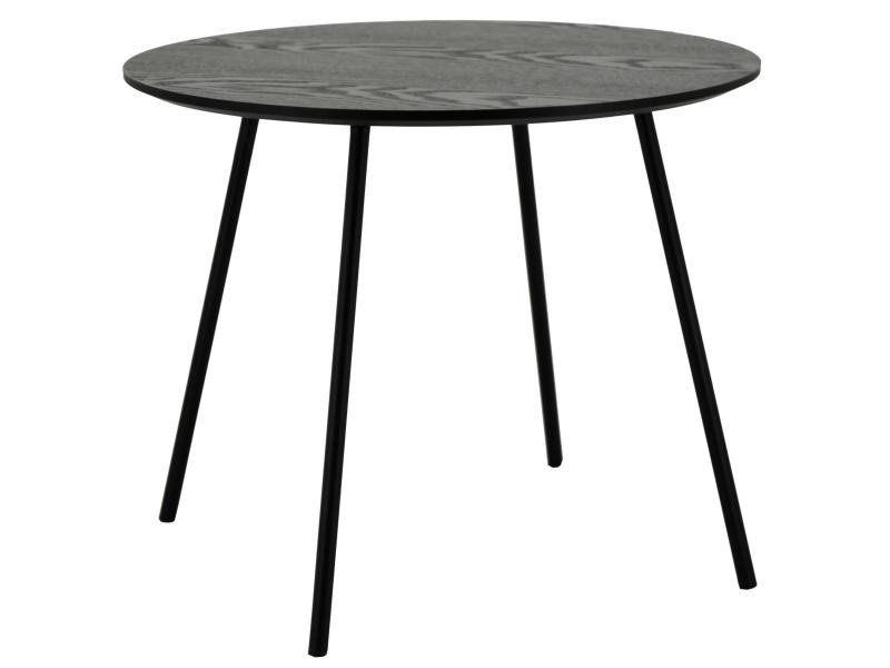 Table ronde avec plateau plaquage frêne noir