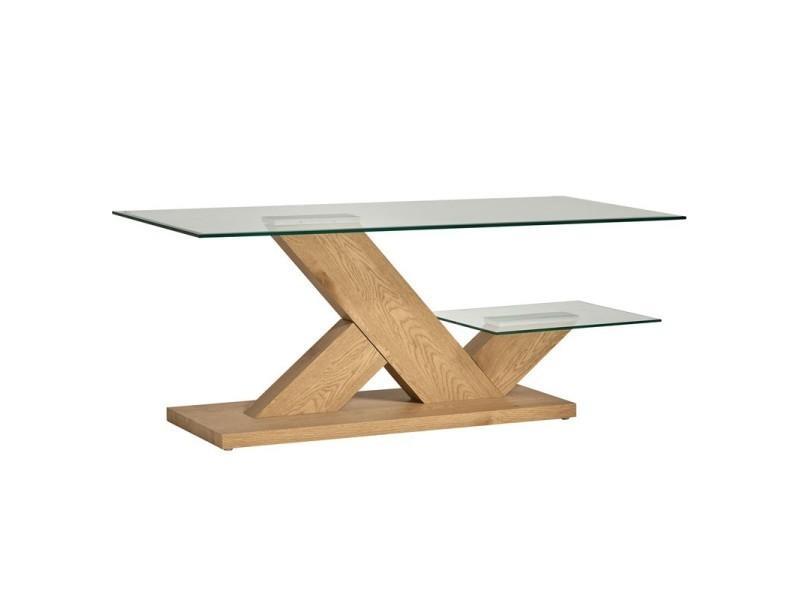 Table basse plateau verre et pieds bois - silves - l 110 x l 60 x h 45 - neuf