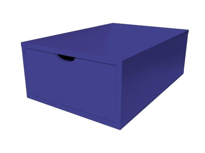 Cube de rangement bois 75x50 cm + tiroir bleu foncé CUBE75T-DF