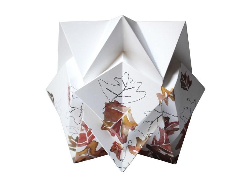Lampe A Poser Origami Design En Papier Et Aquarelle Originale