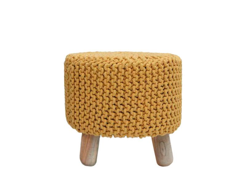 pouf rond tr pied tricot 40cm nin couleur jaune ru conforama. Black Bedroom Furniture Sets. Home Design Ideas