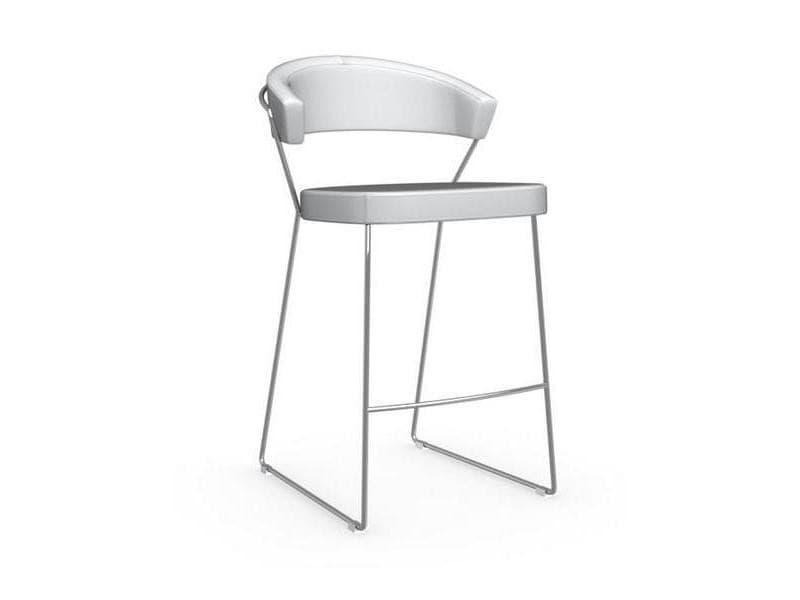Chaise de bar new york design italienne structure acier chromé assise cuir blanc optique 20100841574