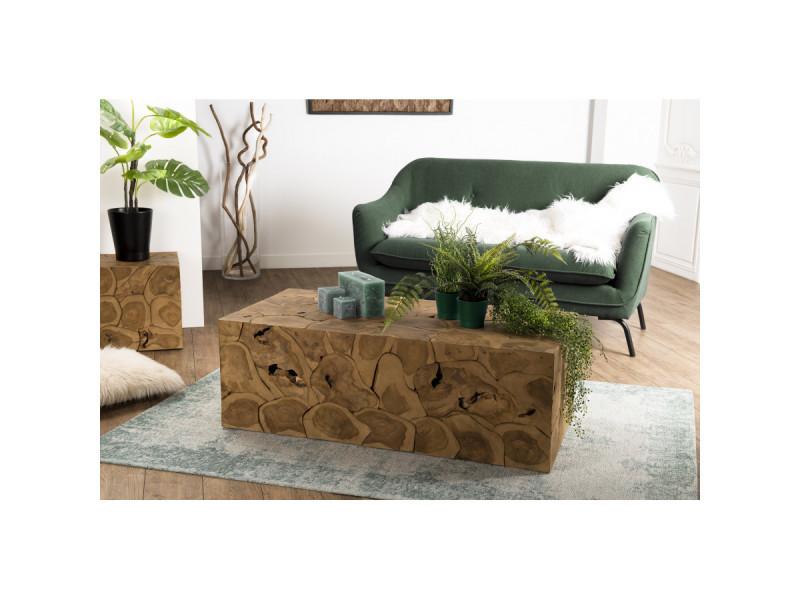 Table basse bois 120x60cm teck nature