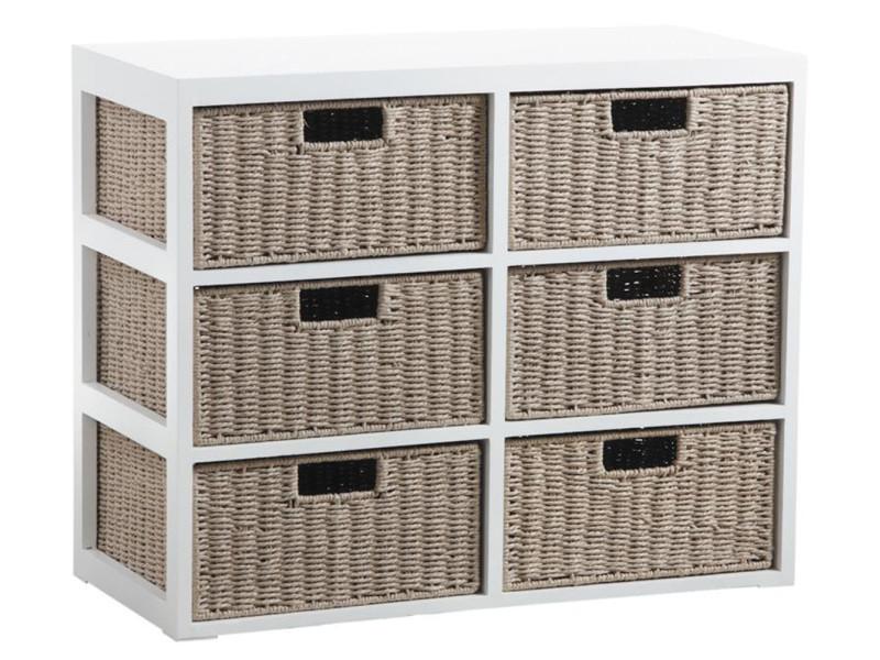 Commode 6 tiroirs en bois laqué blanc et papier cordé - 79 x 36 x 63 cm -pegane- PEGANE