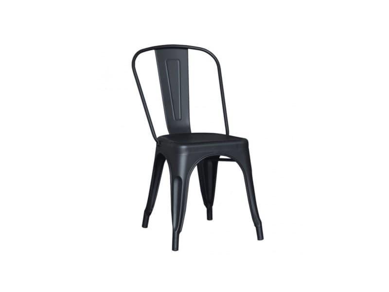 Lot de 4 chaises atelier metal noir mat
