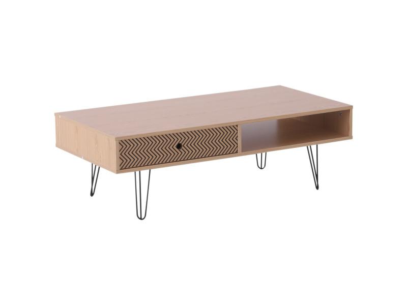 Table basse design scandinave graphique dim. 110l x 55l x 36h cm niche + tiroir coulissant pieds effilés acier noir panneaux particules chêne