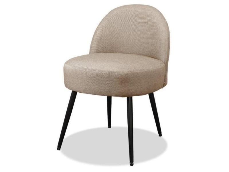 Lilo2 fauteuil pieds métal - tissu taupe - l 47 x p 44 x h 67 cm