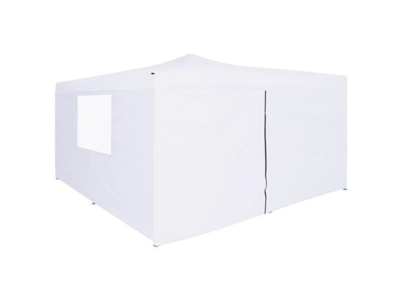 Superbe structures extérieures edition rabat belvédère pliable avec 4 parois 5x5 m blanc