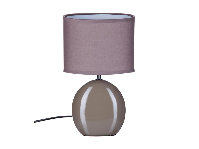 Atmosphera - lampe céramique ovale taupe h31