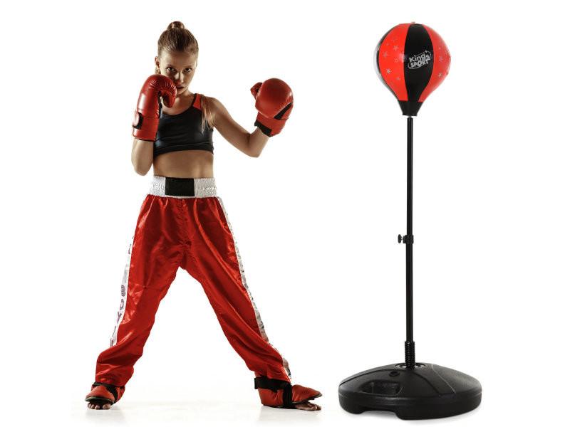 Punching ball sur pied pour enfant hauteur réglable 78-120 cm base de lestage paire gants inclus rouge noir