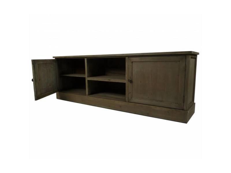 Meuble tv télé console de salon grand meuble bas de rangement etagères placards en bois patiné ...