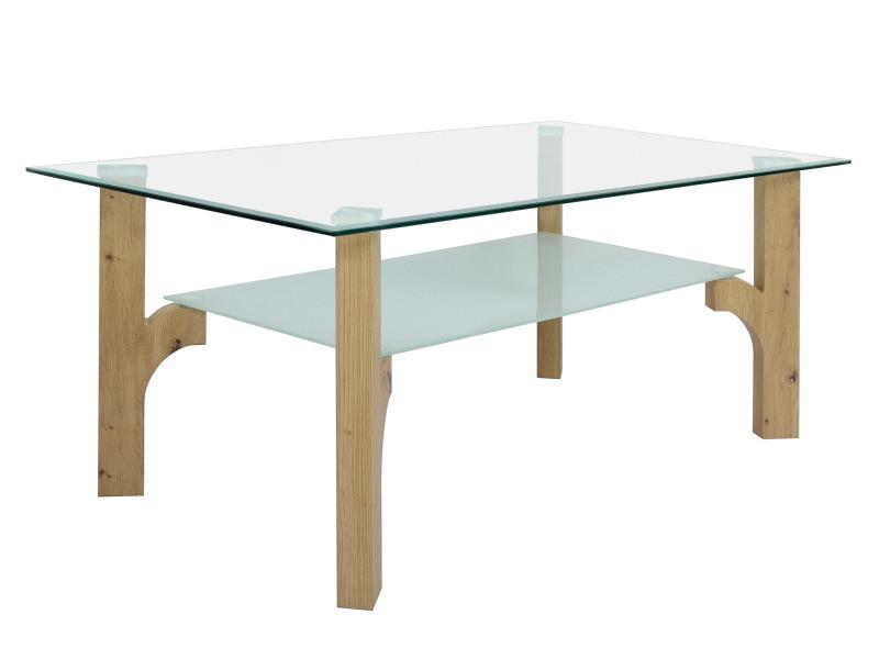 Table basse plateau verre foresto imitation chêne artisan