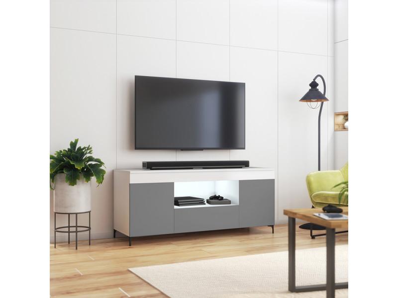 Meuble tv avec led - gusto - 137 cm - blanc mat / gris mat - style contemporain