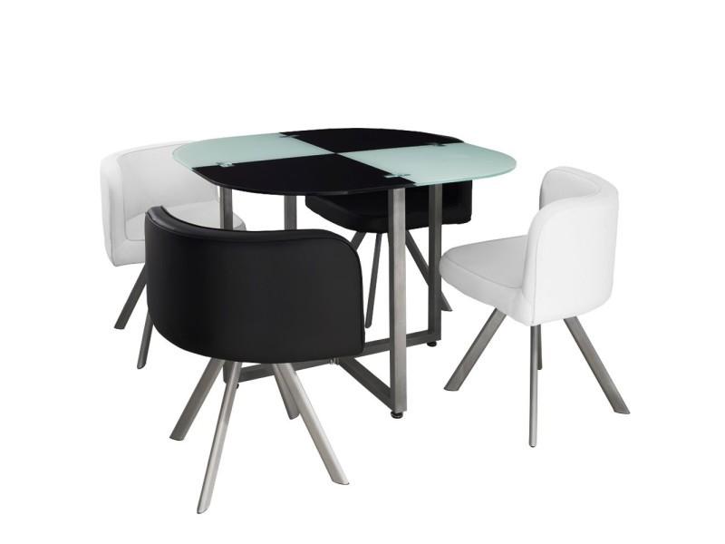 Ensemble table de repas avec 4 chaises design malaga noir & blanc