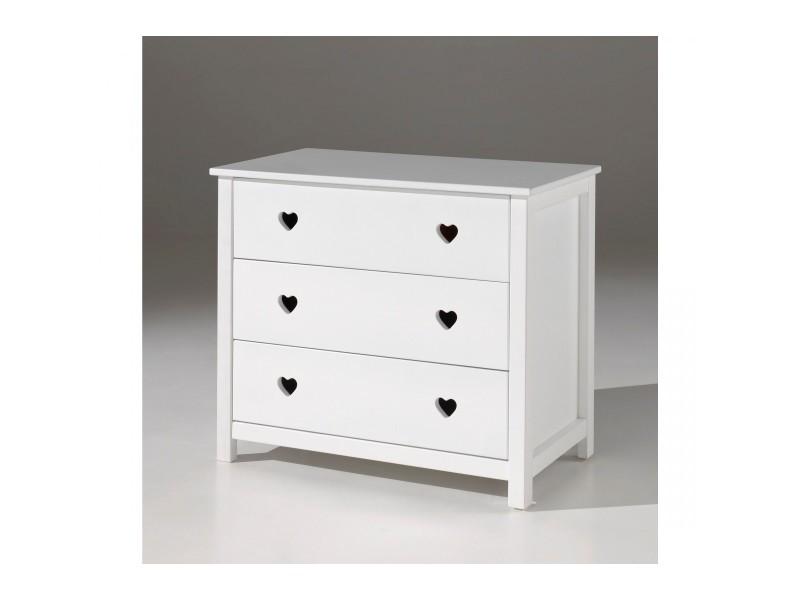 Commode 3 tiroirs en bois blanc co2001