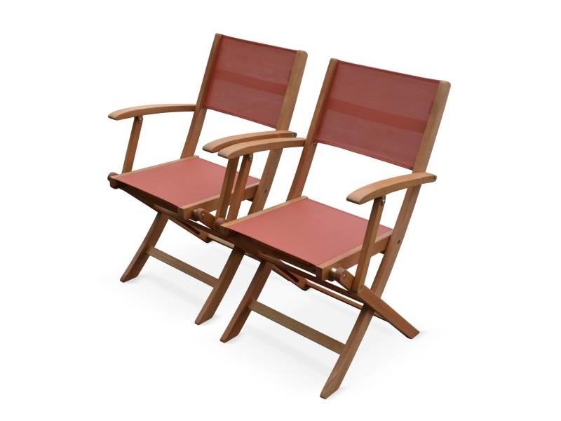 Lot de 2 fauteuils de jardin en bois almeria, 2 fauteuils pliants eucalyptus fsc huilé et textilène terra cotta