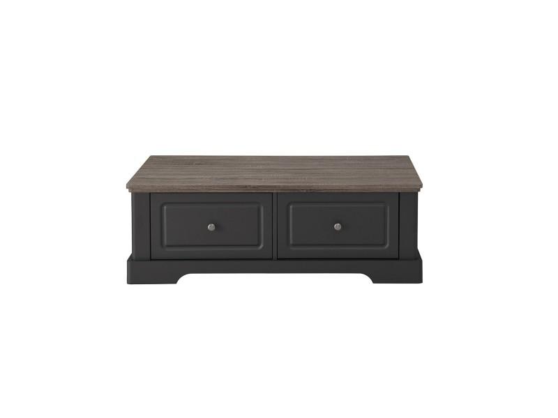 Table basse en bois avec 2 grands tiroirs dessy