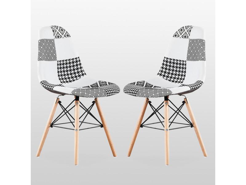 Lot de 2 chaises en tissu patchwork et métal noir - noir & blanc