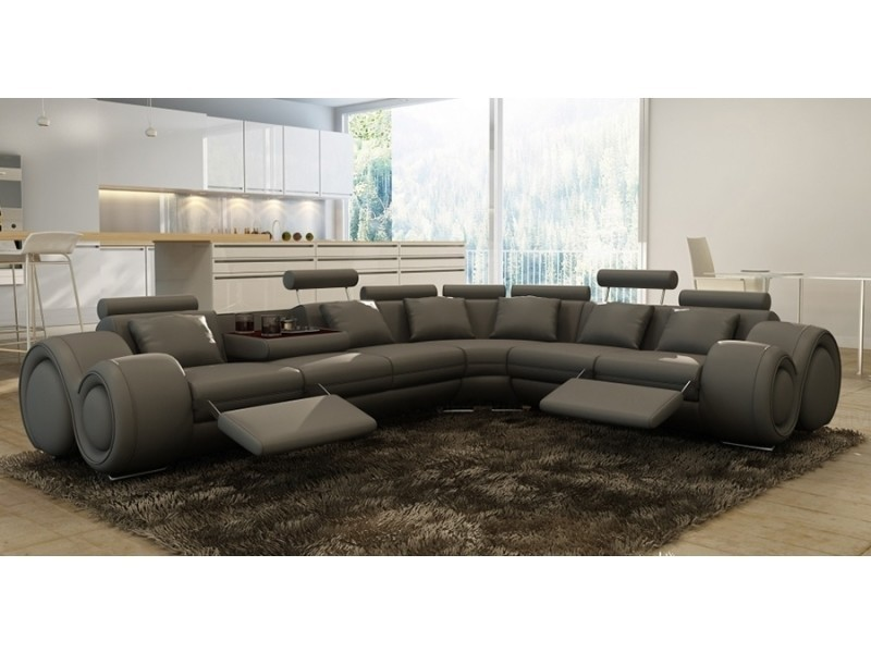 Canapé d'angle cuir gris + positions relax oslo (angle droite)-