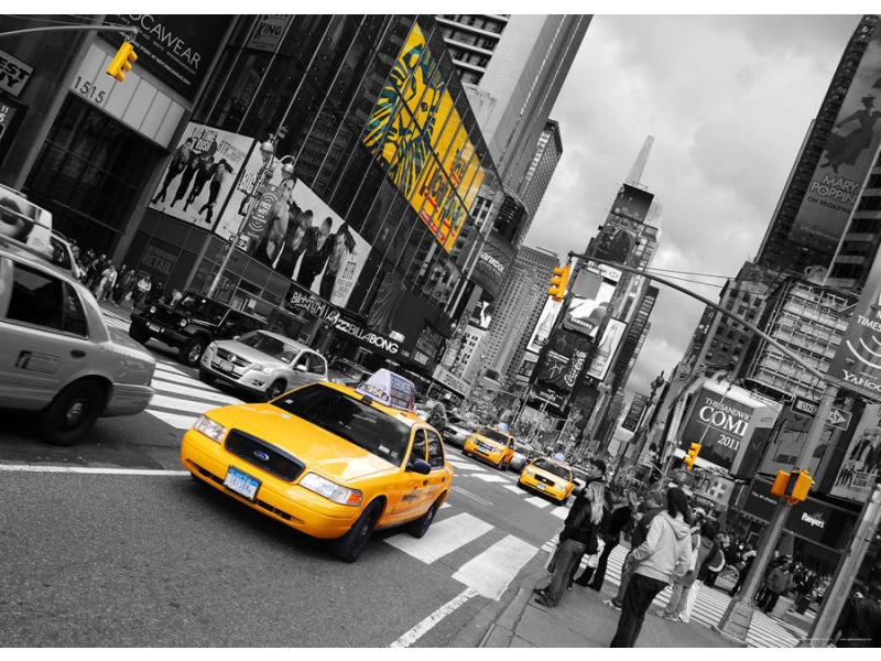 New york taxi yellow cab, photo murale intissée, 160x110 cm, 1 part