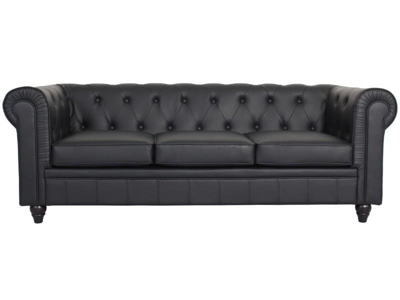 canap 3 places chesterfield noir vente de menzzo premium conforama. Black Bedroom Furniture Sets. Home Design Ideas