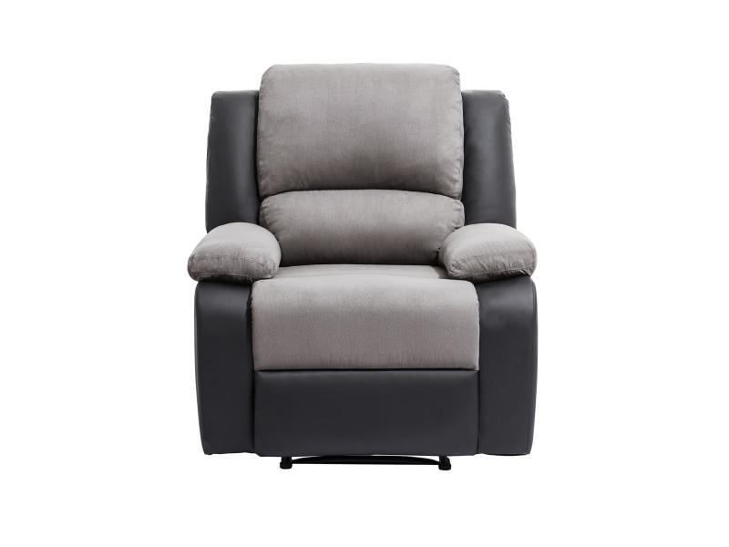 Fauteuil relaxation 1 place microfibre / simili detente - couleur - gris / noir 9121ENG1