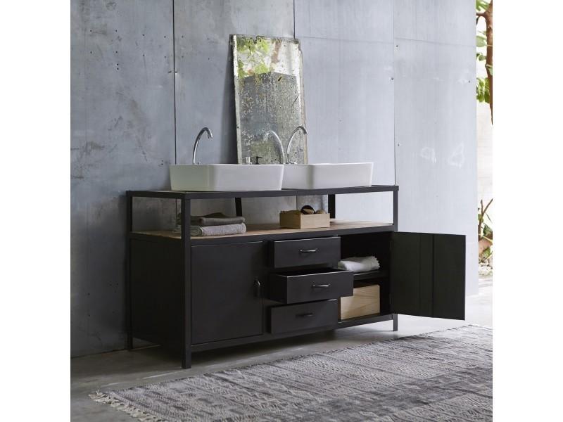 meuble salle de bain en m tal et manguier 140 industriel conforama. Black Bedroom Furniture Sets. Home Design Ideas