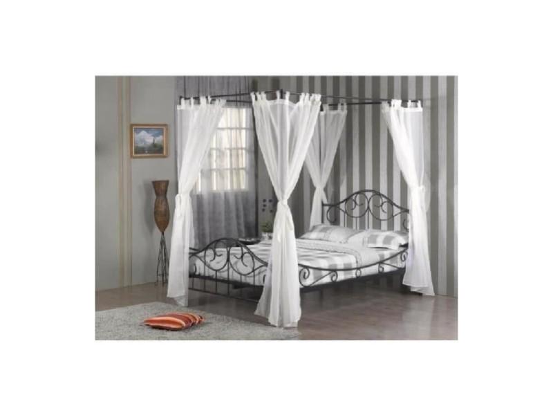 lit en m tal baldaquin shelby sommier rideaux inclus. Black Bedroom Furniture Sets. Home Design Ideas