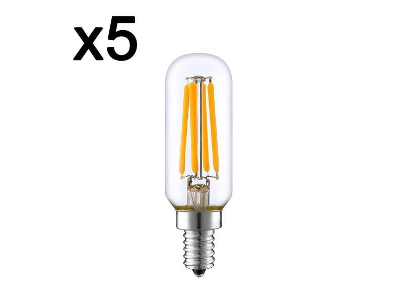 Lot de 5 ampoule filament led blanc chaud pluton e14 t25 4w h9cm