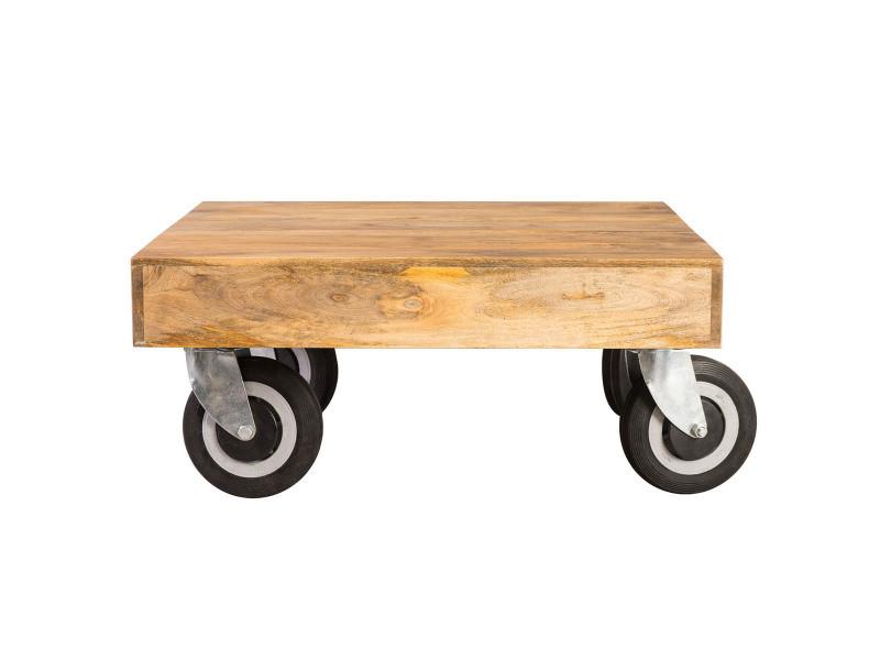 Basse À Design Carrée 80x80 Cm Table Atelier Industrielle Roulettes nmON0wv8