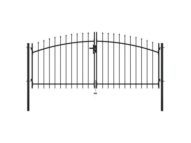 Chic clôtures et barrières serie mogadiscio double portail avec haut sous forme de lance 300 x 150 cm