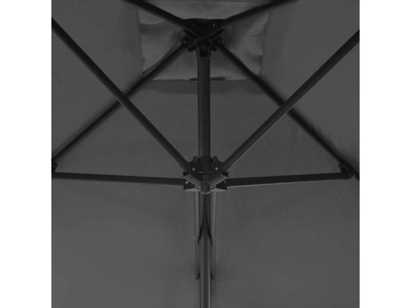 Icaverne - parasols et voiles d'ombrage edition parasol d'extérieur avec mât en acier 250 x 250 cm anthracite