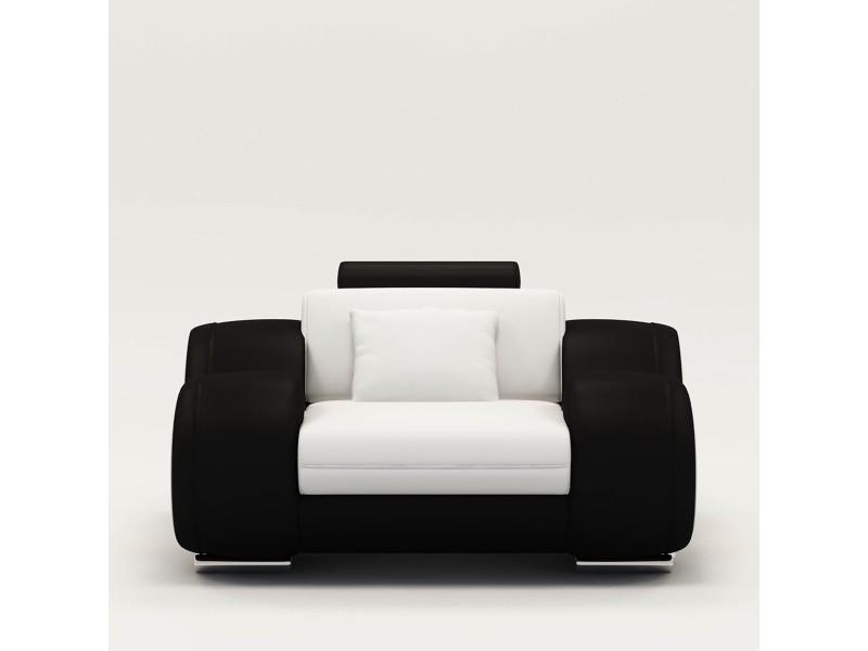 Fauteuil cuir relax design blanc et noir oslo